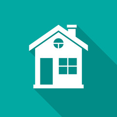 House icon with long shadow. Flat design style. House simple silhouette. Modern, minimalist icon in stylish colors. Web site page and mobile app design vector element.