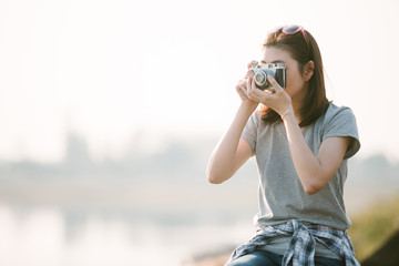 Portrait of Asian woman traveler photography hipster lifestyle