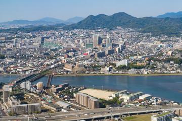 Aerial view of Fukuoka City in Fukuoka, Japan. (福岡航空写真)