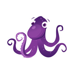 Purple octopus sea creature. Colorful cartoon character
