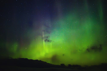 Northern lights. Aurora borealis nature landscape at night