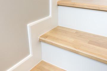Foto op Plexiglas Trappen modern stair design with wooden tread and white riser