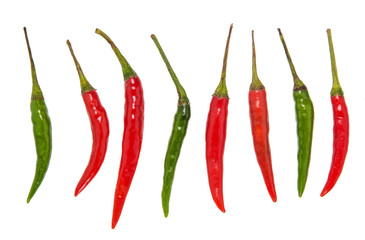 Red chili on the white background