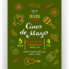 Cinco De Mayo poster template with text customized for invitation for fiesta party and  Mexican colorful line icons.