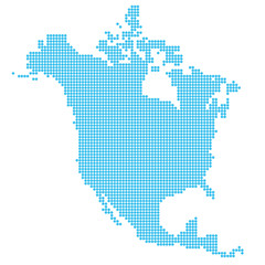 North America map made of dots