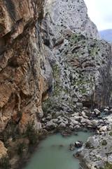 Fototapete - Valle del Hoyo with Guadalhorce river, Caminito del Rey