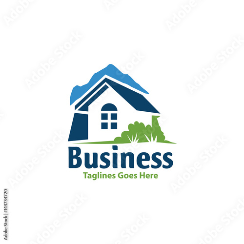 Village House Logo Real Estate Vector Cottage Farm Logotype Concept Icon