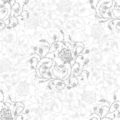 ornate flowers seamless pattern grey