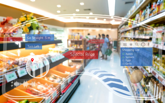 Augmented reality marketing and smart retail concept. Customer using AR glasses navigation application to buy shopping list items and find sale special price retail store mall.