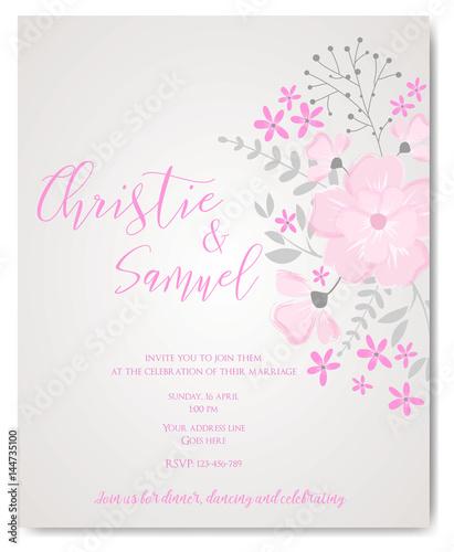 wedding invitation flowers template fotolia com の ストック画像と