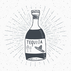 Vintage label, Hand drawn bottle of tequila mexican traditional alcohol drink sketch, grunge textured retro badge, emblem design, typography t-shirt print, vector illustration