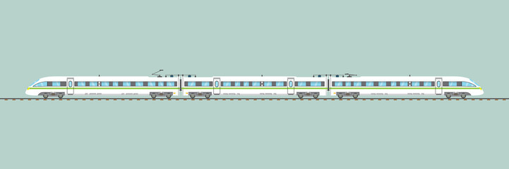 flat high-speed train isolated.vector express railway illustration