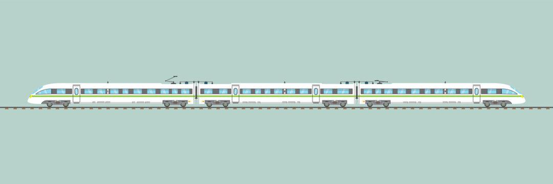 flat high-speed train isolated.vector express railway illustration