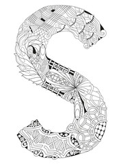 Lletter S for coloring. Vector decorative zentangle object