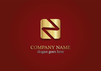 gold square letter n vector logo