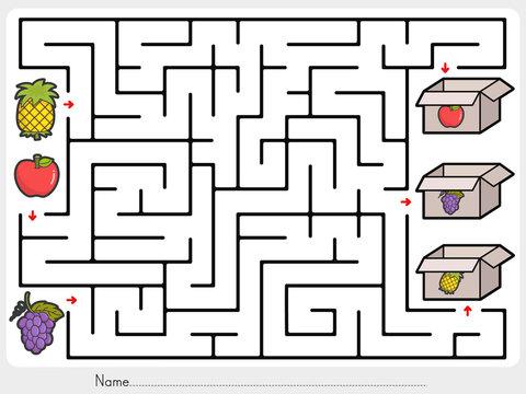 Maze game: Pick fruits box - worksheet for education