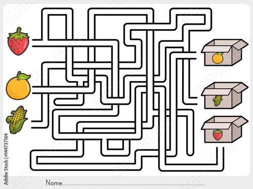 maze game pick fruits box worksheet for education stock image