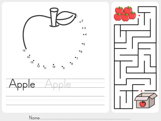 Connect dots and Pick apple box maze game - worksheet for education