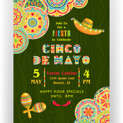 Cinco De Mayo poster template with text customized for invitation for fiesta party, ornate Mexican maracas and sombrero at dark ornament.