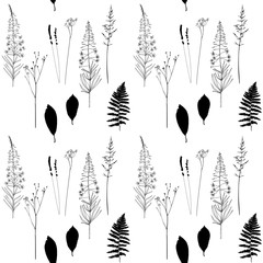 Vector floral seamless pattern  with  fireweed flowers, fern leaves, lavender and grass.