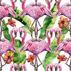 Watercolor illustration of tropical pink flamingo bird. Trendy artwork with tropic summertime motif. Exotic Hawaii art. Seamles mirror pattern.