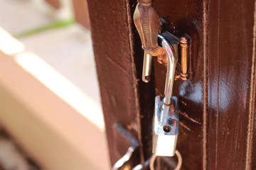 The key is locked at the door that has not locked