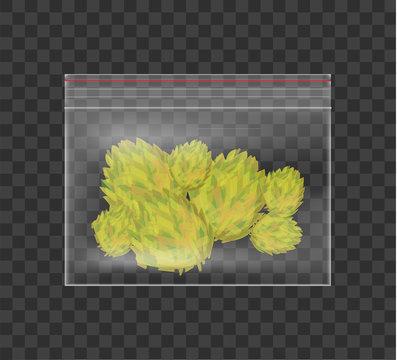 Realistic plastic bag of medicinal cannabis. Marijuana isolated on checkered background. Vector illustration.