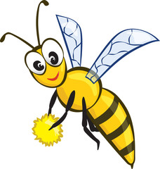 Vector Illustration of a Friendly Cute Bee Flying and Smiling