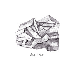 Rock salt. Watercolor minerals, crystals, isolated elements at white background, hand drawn illustration