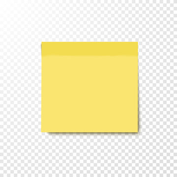 Yellow sticky note. Vector illustration.