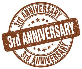 3rd anniversary brown grunge stamp
