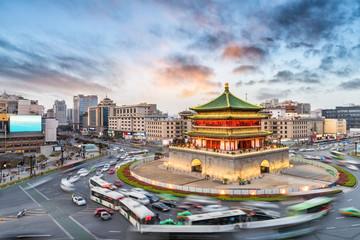 Foto op Aluminium Xian xian bell tower in sunset