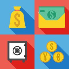 Set of 4 money icon. Flat Vector illustration.