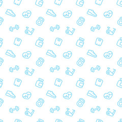 fitness pattern, seamless background with blue fitness icons on white, vector illustration