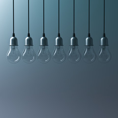 Abstract hanging light bulbs on dark green background with blank space , creative idea concept. 3D rendering.