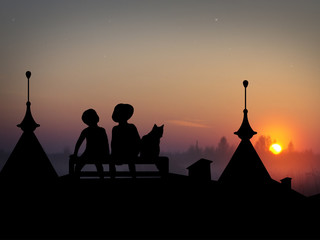 Children and the cat sitting on the roofs of houses. Night silhouettes