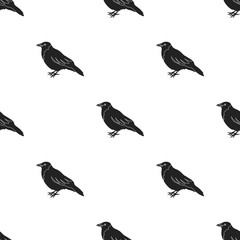 Crow icon in black style isolated on white background. Bird pattern stock vector illustration.