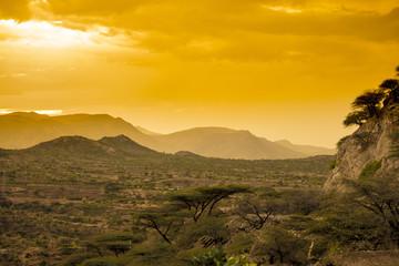 Desert of Eastern Ethiopia at sunset