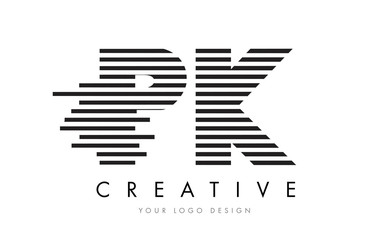 Obraz PK P K Zebra Letter Logo Design with Black and White Stripes - fototapety do salonu