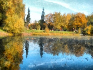 Bright yellow autumn park . with reflected trees in pond. Watercolor
