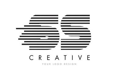 SS S S Zebra Letter Logo Design with Black and White Stripes