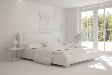 White modern bedroom with green landscape in window. Scandinavian interior design. 3D illustration