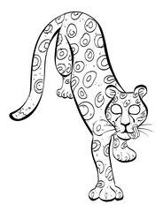 Cartoon image of leopard. An artistic freehand picture.