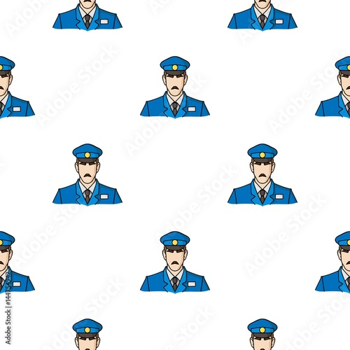 museum security guard icon in cartoon style isolated on white