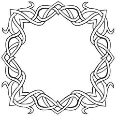 Vector illustration of Celtic knot square frame black and white