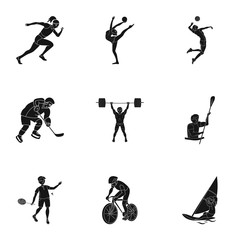 Olympic sports. Winter and summer sports. A set of pictures about athletes.Olympic sports icon in set collection on black style vector symbol stock illustration.