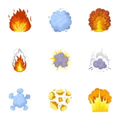A set of icons about the explosion. Various explosions, a cloud of smoke and fire.Explosions icon in set collection on cartoon style vector symbol stock illustration.