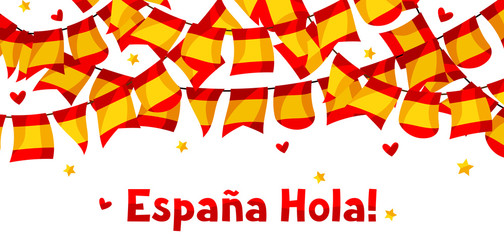 Celebration background with garlands waving Spanish flags
