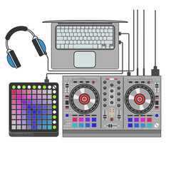 Dj set vector flat line art illustration. Launchpad, mixer, notebook, headphones