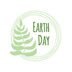 Earth Day poster template with hand drawn leaves on a branch